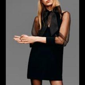 NWT Zara Organza Bow Sheer Dress Black 7563/275